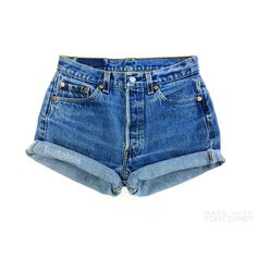 Levis High Waisted Cuffed Denim Shorts Rolled Up Denim Shorts Plain... ($15) ❤ liked on Polyvore featuring shorts, destroyed denim shorts, jean shorts, vintage jean shorts, distressed denim shorts and high rise jean shorts
