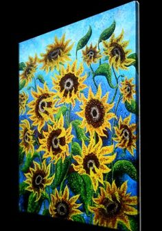 Signed Pre-STRETCHED Giclee PRINT On CANVAS of Original Yellow Green Sunflower Painting By Dan Lafferty - Sunflower Reflections - 24x18
