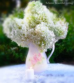 White Hydrangea Wedding Tea Table Pitcher Vase Prairie