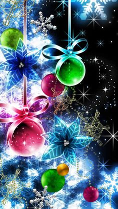 By Artist Unknown. Purple Christmas, Noel Christmas, Christmas Pictures, All Things Christmas, Winter Christmas, Christmas Bulbs, Christmas Decorations, Happy Thanksgiving Wallpaper, Merry Christmas Wallpaper