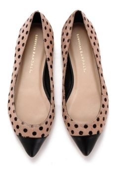 Nude with black polka dots, pointy-toe, black capped flats
