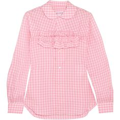 Comme des Garçons GIRL Ruffle-trimmed gingham cotton-poplin shirt (6.935 RUB) ❤ liked on Polyvore featuring tops, blouses, gingham shirt, tailored shirts, peter pan blouse, pink blouse and pink ruffle shirt