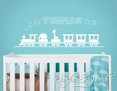 Nursery Wall Decals. Thomas train wall decal with a custom name. Custom made name wall decals for nursery or play rooms. - 1222