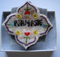 Artisian needlecraft Namaste Gratitude Pin by hotpinkhealthcoach, $8.00
