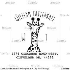 Cute Giraffe Animal Monogram & Name Return Address Rubber Stamp Giraffe Illustration, Cute Giraffe, Wood Stamp, Wildlife Nature, Return Address Labels, Forest Animals, Ink Pads, Ink Color, Wooden Handles