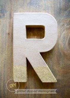 Easy breezy glitter dipped monogram