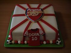 Cool Custom Arsenal Jersey Cake by local Perth cake designer Stephanie Wilmot of Sweetfayz Cake Designs