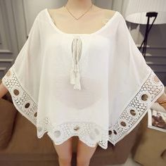 Scoop Neck Lace Splicing Openwork 3 4 Sleeve Blouse For Women