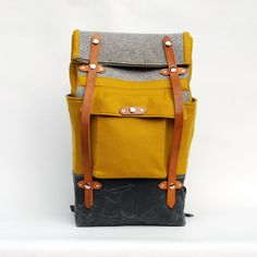 The Ochre Felt Camper. Best rucksack ever. My Bags, Purses And Bags, Looks Style, Mode Style, Handmade Bags, Weekender, Backpack Bags, Rucksack Bag, Travel Backpack