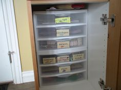I have fun helping people get organized so they can spend their life doing what matters most. I specialize in helping women organize their homes with limited storage space and without spending lots of money on containers and such. Organization Station, Kitchen Cabinet Organization, Storage Organization, Storage Spaces, Locker Storage, Cabinet Organizers, Organization Ideas, Inside Kitchen Cabinets, Getting Organized