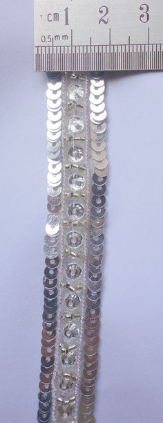 Silver Handmade Trim with glass Beads and Sequence