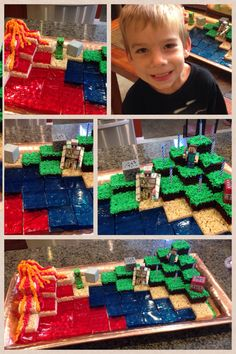 Minecraft cake for my son. I used rice crispy treats jello (I made the jello wi - Unflavored Water - Minecraft Torte, Minecraft Pasta, Minecraft Birthday Cake, Minecraft Ideas, 11th Birthday, 6th Birthday Parties, Birthday Ideas, Cake Birthday, Happy Birthday