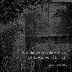 Deal with the world the way it is, not the way you wish it was. —John Chambers