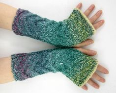 Cable knit fingerless gloves vegan aqua wrists by piabarile, $29.00