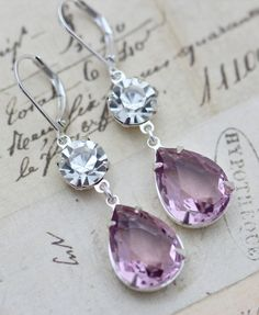 Light Purple Amethyst  Clear Crystal Glass Earrings Silver Bridesmaids Earrings Bridal Party Wedding Jewelry Clip ons available. $21.50, via Etsy.