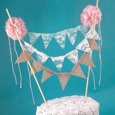 Cake banner wedding Lace Mint Blush  Bunting by Hartranftdesign