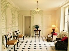 The Oriental Room at the century Château de Montvason, Normandy - Elsie de Wolfe inspired muraille Oriental, Elsie De Wolfe, Normandy, 19th Century, Oversized Mirror, Interiors, Inspired, Room, Inspiration