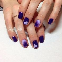 Awesome nails I know it's kind of plain but it is amazing -love. I'd definitely add a cute tiny red heart to one of the nails 17 Romantic Nail Designs For Lovely Valentine's Day Valentines Nail Designs - Cute & Simple Heart Nail Designs, Valentine's Day Nail Designs, Purple Nail Designs, Best Nail Art Designs, Nails Design, Heart Nail Art, Heart Nails, My Nails, Deco Violet