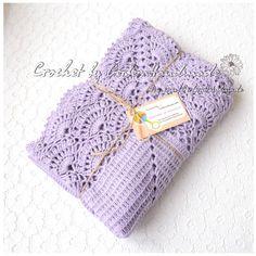 Lilac Christening Baby crochet blanket Baby by GerberaHandmade