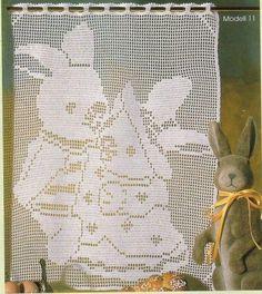 Bunnies curtain with diagram filet work