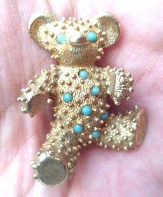 "VINTAGE ESTATE GOLD TONE SIGNED BENEDIKT NY TEDDY BEAR 1 5/8"" BROOCH!!! 4059H    eBay"