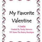 Students will love capturing the memory of their favorite valentine from this year using this FREEBIE from The Brainy Boutique.