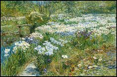Childe Hassam (American, 1859–1935). The Water Garden, 1909. The Metropolitan Museum of Art, New York. Partial and Promised Gift of Mr. and Mrs. Douglas Dillon, 1994 (1994.450) | This painting is thought to have been executed on the property of a friend in East Hampton who had a beautiful lily pond surrounded by irises. #iris #flower