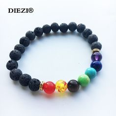 Muti-warna mens gelang hitam lava 7 doa yoga balance beads gelang untuk wanita reiki chakra healing gelang batu