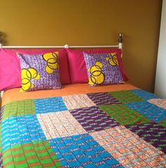 Ready to ship African quilt double sided. Wax print by ChilliPeppa