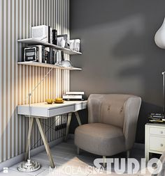 przytulny kąt do pracy - zdjęcie od MIKOŁAJSKAstudio - Gabinet - Styl Vintage - MIKOŁAJSKAstudio Home Office, Office Desk, Home Based Business, Layout Inspiration, House Design, Bedroom, Styl Vintage, Furniture, Home Decor