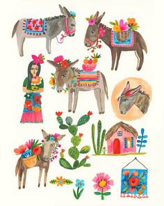 Print of an original Gouache painting in my sketchbook of Donkeys, with flowers, houses and a Cactus. Art was created for a show with my agent called Menagerie, PRINT House Illustration, Illustrations, Cactus Illustration, Posca Marker, Buch Design, Guache, Art Deco Posters, Mexican Folk Art, Gouache Painting
