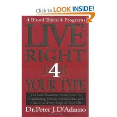 Live Right 4 Your Type:  Over a million readers have used the individualized blood-type diet solution developed by Dr. Peter J. D'Adamo to achieve their ideal weight. In the five years since the New York Times bestseller Eat Right 4 (for) Your Type was published, new research has indicated that there's a blood-type profile for almost every aspect of our lives, and thanks to that new research, your blood type reveals how you can live a better life.