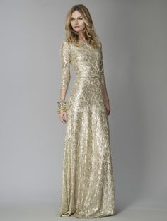 David Meister Gold Lace Metallic Sequined 3/4 sleeve gown | Golden ...