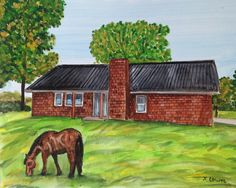 Custom farm barn watercolor painting 8x10 farm by HarvestmoonFarm on Etsy. Farms, barns, houses, pet portraits