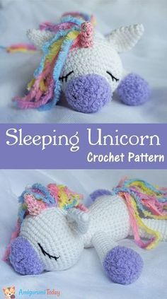 Use this Sleeping Unicorn Pony Doll crochet pattern to create a wonderful plush toy. The crochet pattern is FREE! Use this Sleeping Unicorn Pony Doll crochet pattern to create a wonderful plush toy. The crochet pattern is FREE! Crochet Diy, Crochet Simple, Crochet Gratis, Crochet Patterns Amigurumi, Amigurumi Doll, Crochet For Kids, Crochet Dolls, Crochet Stitches, Crochet Unicorn Pattern Free
