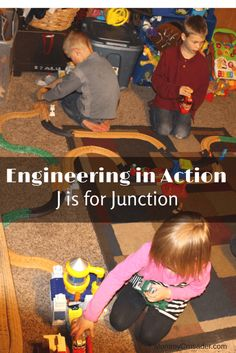 Our engineering in action section of our learning unit on the letter J is J is for Junction. We were civil engineers, planning and constructing a model railroad together.