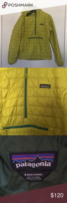 Patagonia Nano Puff Pullover Yellow/ Green Patagonia Nano Puff Half-zip Pullover - Men's Small (also fits as Women's Medium)   Brand New - only worn once! Patagonia Jackets & Coats