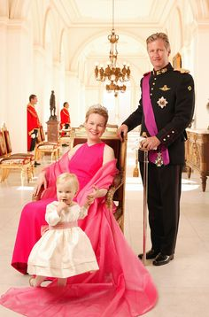 crown prince Philippe, princess Mathilde and their daughter princess Elisabeth.