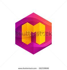 M letter mist or waves hexagon volume logo, vector design template elements