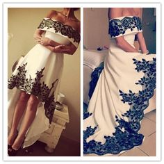 Prom Dress, Black Lace Prom Dress, Off The Shoulder Evening Dress, High Front Low Back Evening Dress, 2016 Evening Dress, Custom Dress, High Quality Evening Dress, Custom Made