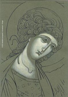 Orthodox Icons, Sketches, Writing Icon, Christian Artwork, Drawings, Christian Art, Art Icon, Angel Art, Sacred Art