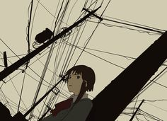 asymmetrical_hair blazer bow brown_eyes brown_hair bust dutch_angle hanno iwakura_lain open_mouth power_lines school_uniform serial_experiments_lain short_hair sketch solo telephone_pole Dutch Angle, Hair Sketch, Gifs, Asymmetrical Hairstyles, Manga Girl, Anime Girls, Art Sketchbook, Love Is All, Art Drawings