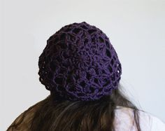 Crochet Lace Slouch Hat, Snood, Tam, Spring and Summer Fashion OneStitchDesigns.com