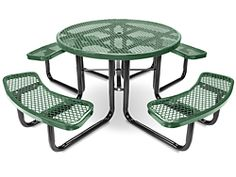 """46"""" Round Picnic Tables - Green H-2127G"""