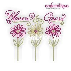 Bloom and Grow - 3 Sizes! | Floral - Flowers | Machine Embroidery Designs | SWAKembroidery.com Embroitique