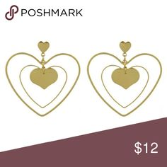 Trendy Fun Gold Solid and Cutout Heart Earrings These trendy geometric earrings include two large dangle drop earrings with layered solid and cutout hearts as pictured. Includes a cute small heart at the top as well. Very chic to make a statement for any outfit, and mix and match with other earrings! Jewelry Earrings
