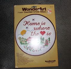 "WONDERART 7 INCH COUNTED CROSS STITCH KIT ""HOME IS WHERE THE HEART IS"" VINTAGE"