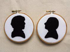 Sherlock Holmes and John Watson Silhouette Felt Embroidery Set   Benedict Cumberbatch   Martin Freeman   Wall Art
