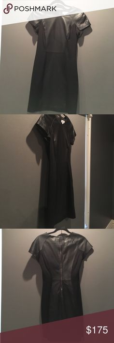 Black Leather Panel Dress Short black dress with leather panel down middle front and back and sleeves. Size 4. By Renvy. Renvy Dresses