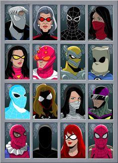 Peter Parker Spider-man (Peter Parker) Spider-Armor MK I (Peter Parker) Scarlet spider (Benjamin Reilly) spider verse 1 Marvel Art, Marvel Dc Comics, Marvel Heroes, Thor Marvel, Avengers, Marvel And Dc Characters, Comic Book Characters, Comic Books, Spiderman Art